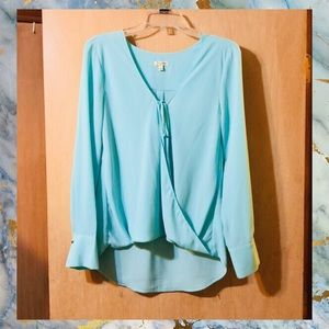 Lily White Hi Lo Surplice Twisted Drawstring Top